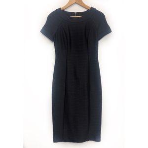 Maeve Black Ribbed Cap Sleeves Midi Dress